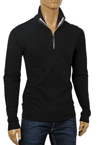 ARMANI JEANS Men's Zip Up Cotton Shirt In Black #226