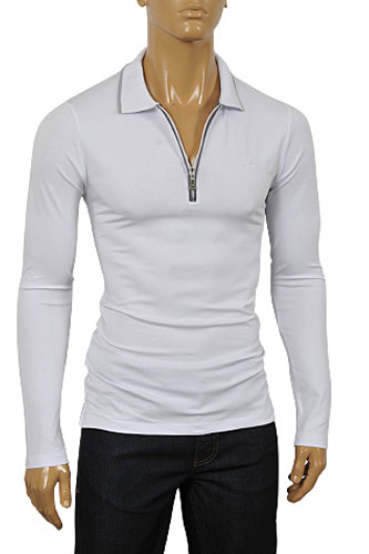 ARMANI JEANS Men's Zip Up Cotton Shirt In White #227