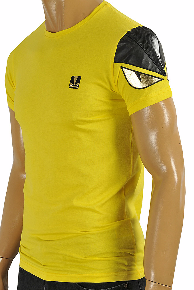 FENDI men's cotton T-shirt in yellow color #25