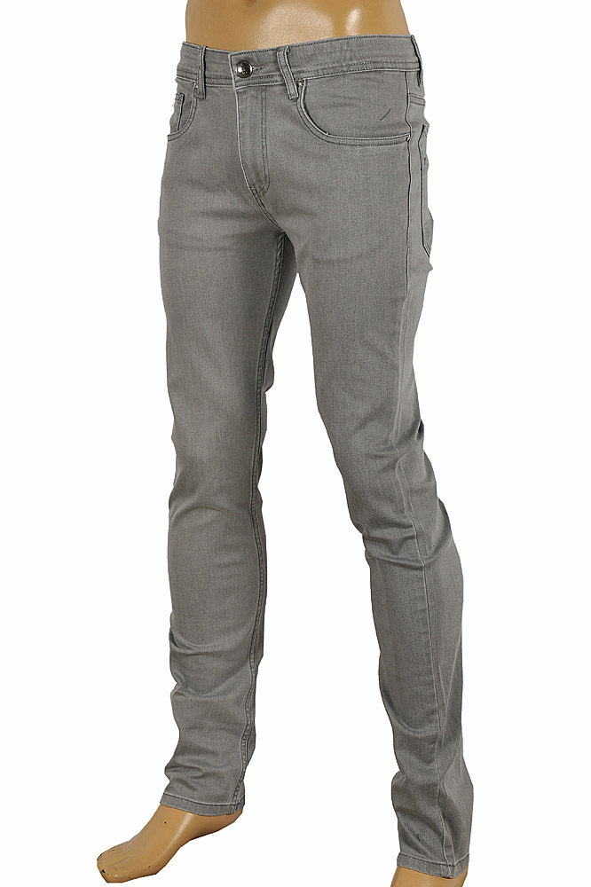 GUCCI Men's fitted stretch jeans with metal batch #95