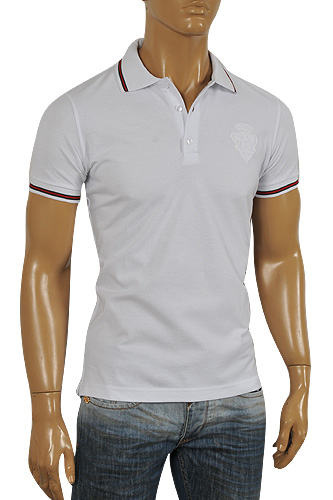 GUCCI Men's Cotton Polo Shirt In White #294