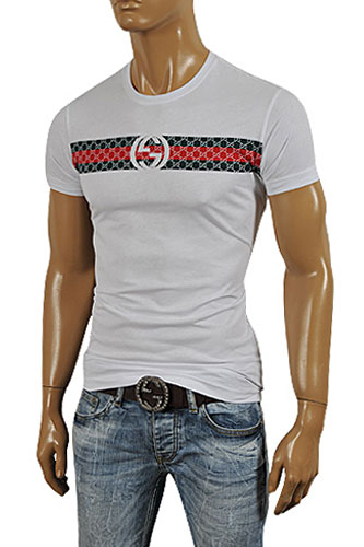 GUCCI Men's Short Sleeve Tee In White #162